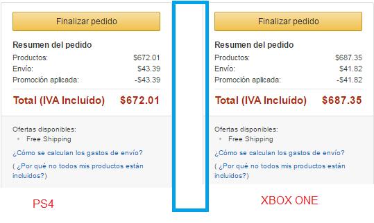 Amazon MX; GTA 5 para PS4 en 642 y para Xbox ONE en 687.35