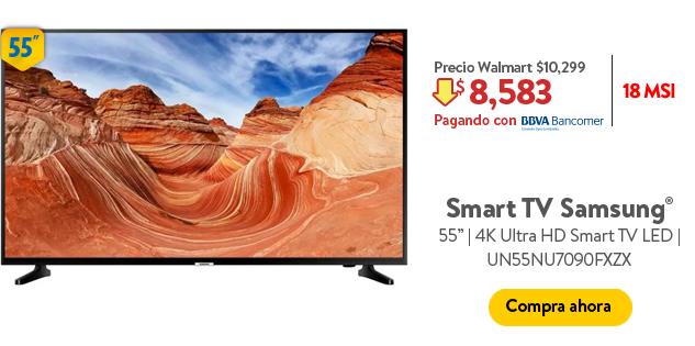 Hot Days 2019 Walmart: Pantalla Samsung 55'' 4K Ultra HD Smart TV LED UN55NU7090FXZX (Pagando con BBVA Bancomer)