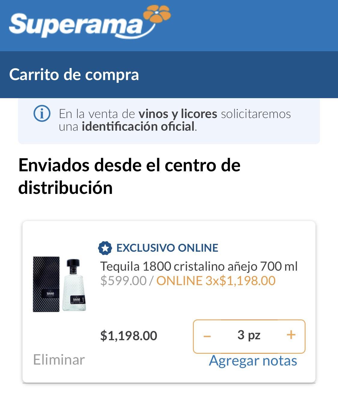 Superama: Tequila 1800 cristalino añejo 3 por $1,198