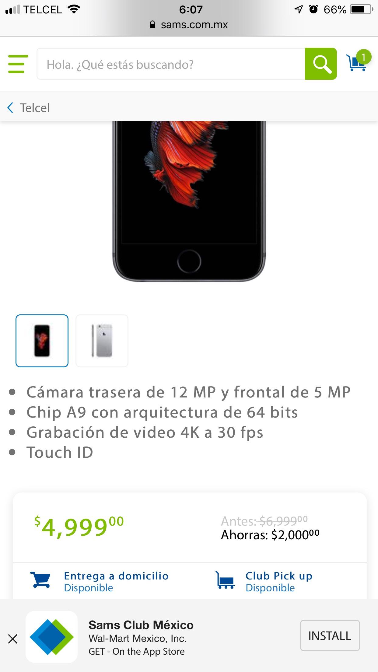 Sam's Club: Iphone 6s de 32 gb telcel