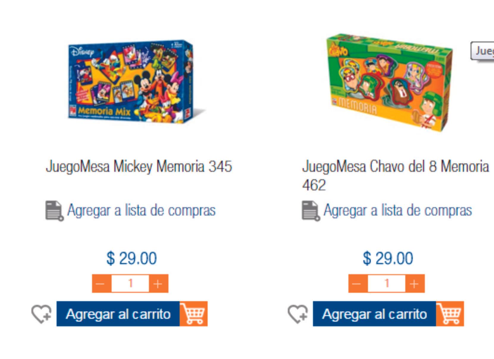 Chedraui: Juego de Memoria Mickey y Memoria El Chavo (Fotorama) a $29.00 c/u