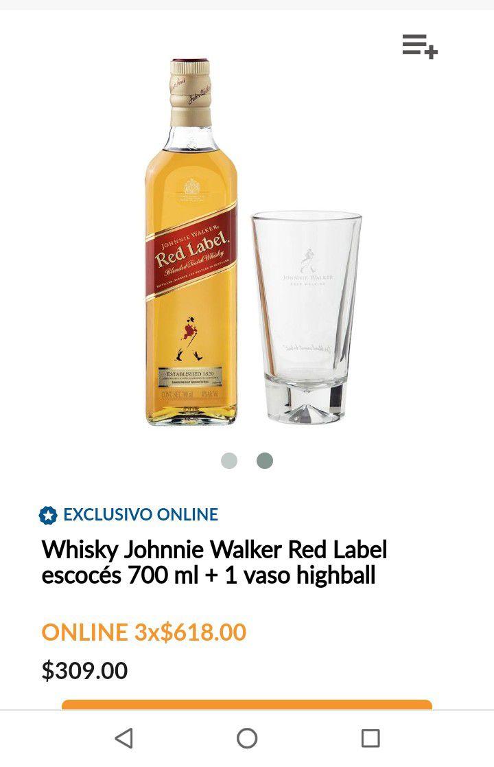 Superama: Whisky Johnnie Walker Red Label escocés 700 ml + 1 vaso highball