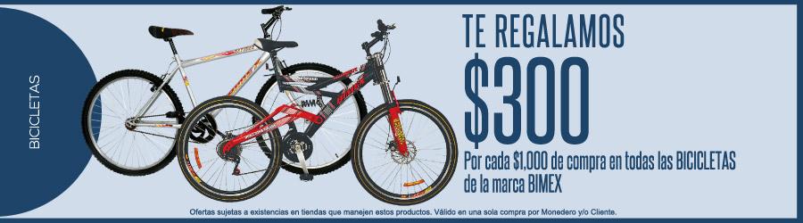 Comercial Mexicana: $300 por cada $1,000 de compra en bicicletas Bimex + 10% pagando con vales gdf