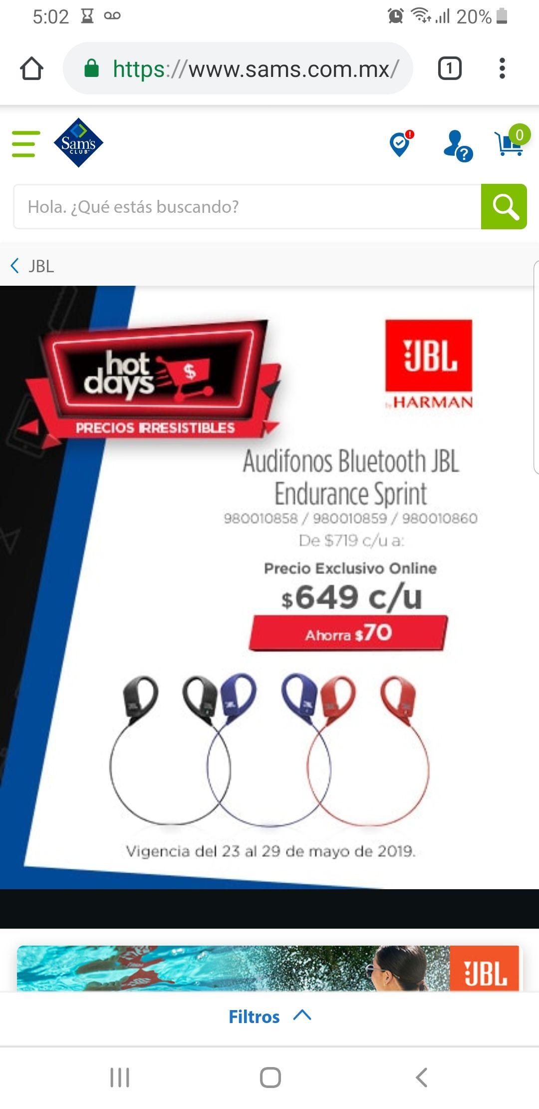 Sam's Club: Audifonos Jbl Endurance Sprint bluetooth
