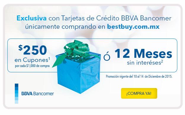 BESTBUY 250.00 PESOS EN CUPONES POR CADA 1,000.00 CON BANCOMER
