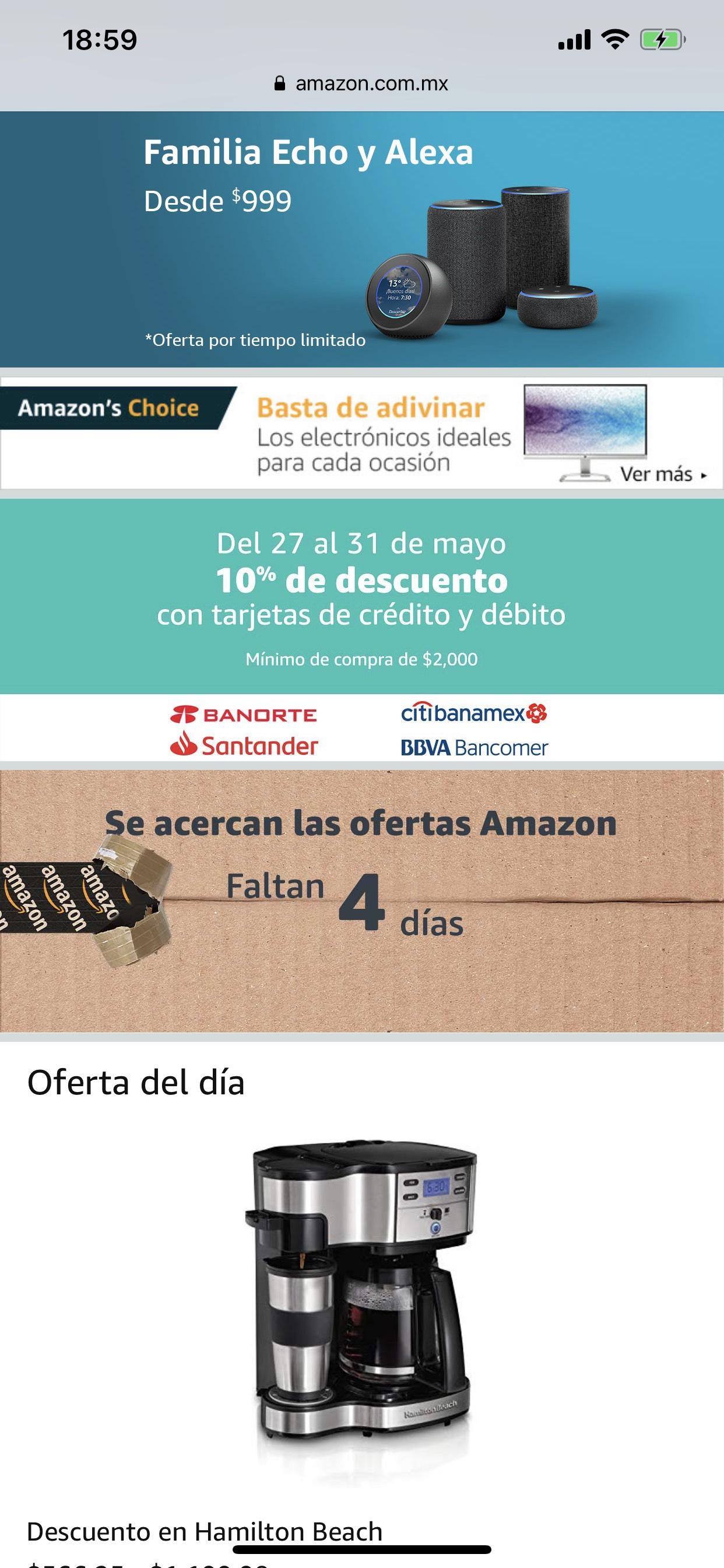 Amazon: 10% de descuento en Hot Sale con tarjetas participantes (Banorte, Santander, Citibanamex, BBVA Bancomer)