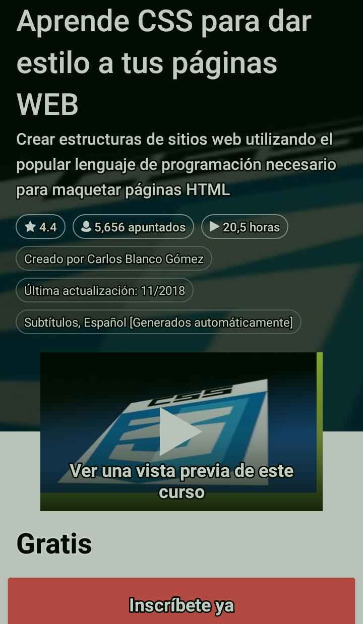 Udemy: Curso Aprende CSS para dar estilo a tus páginas web GRATIS