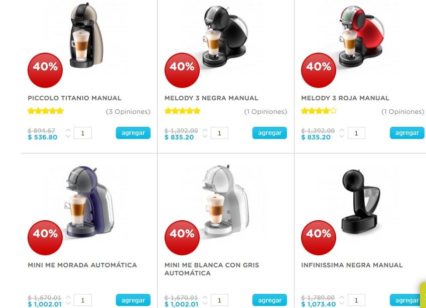 Pre Ofertas Hot Sale 2019 Dolce Gusto: Maquinas con 40% de descuento (Todas)