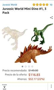 Amazon: Mini dinos Jurassic world pack de 3