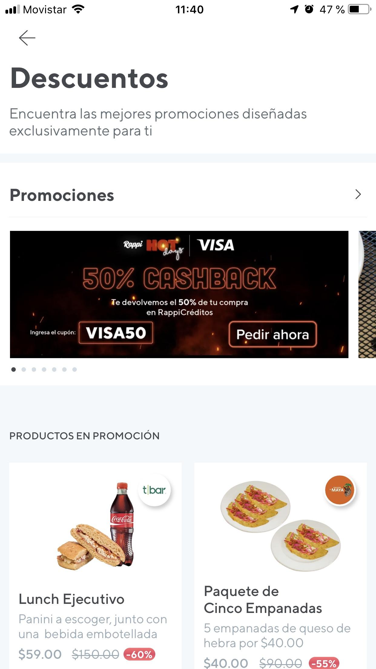 Hot Sale: Rappi 50% cashback pagando con visa