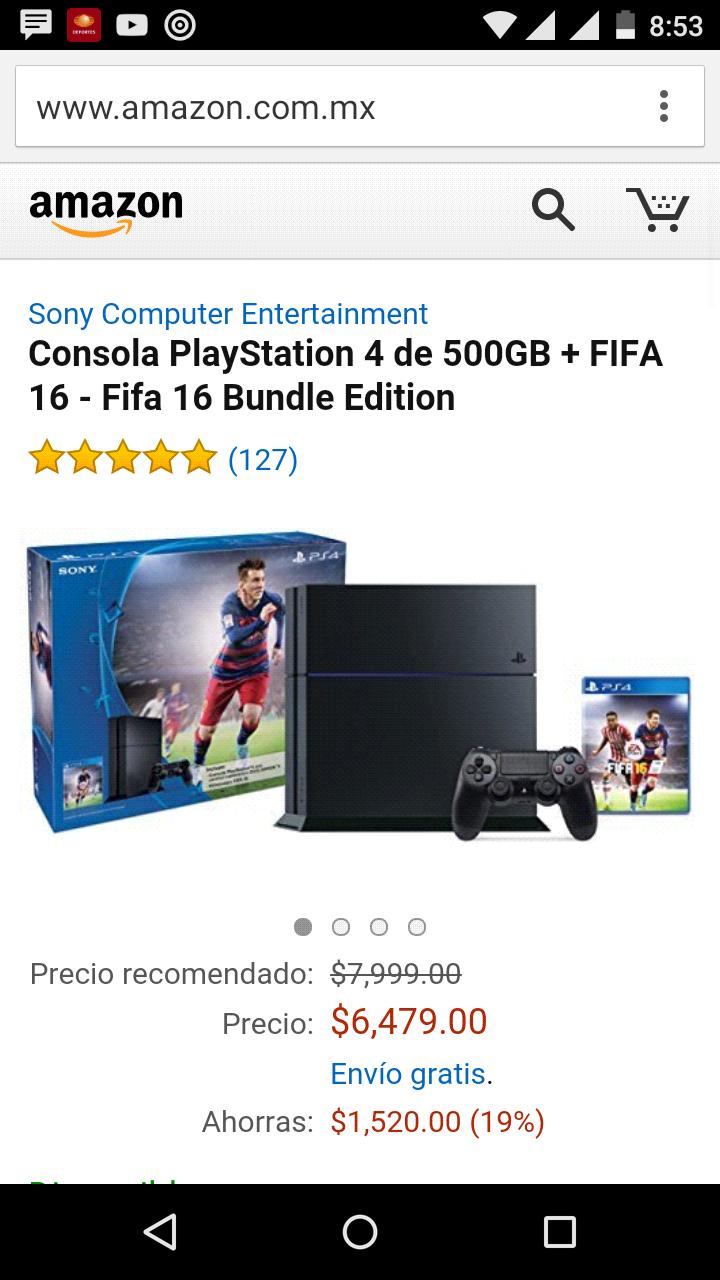 Amazon: PS4 con FIFA 16 a $6479