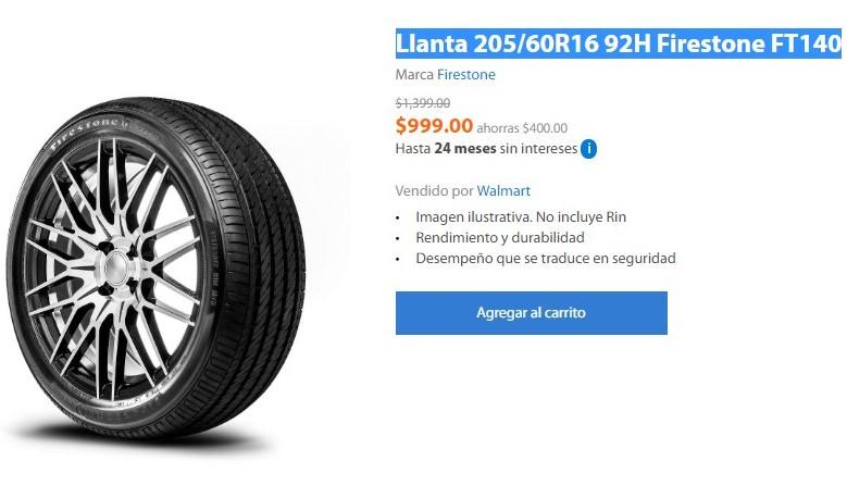 Hot Sale 2019 Walmart: Llanta 205/60R16 92H Firestone FT140
