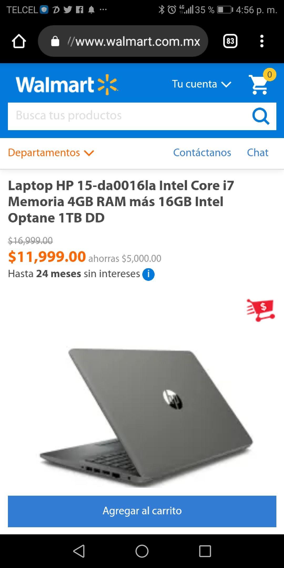 Hot Days 2019 Walmart: Laptop HP 15-da0016la Intel Core i7 8va Gen, 4GB RAM, 16GB Intel Optane, 1TB Pagando con Bancomer o Inbursa a 18 MSI