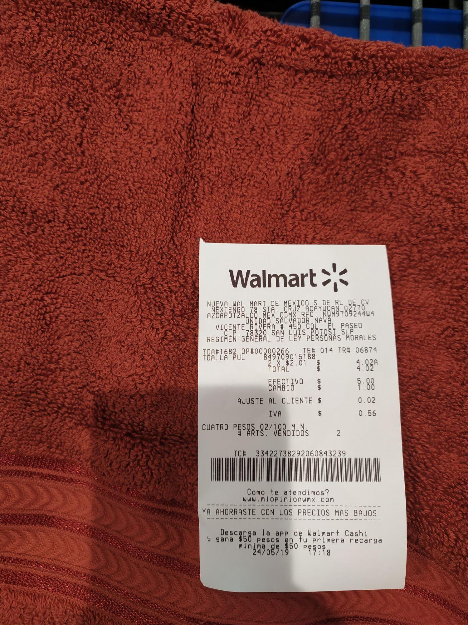Walmart Macroplaza SLP: Toalla better homes 2.01