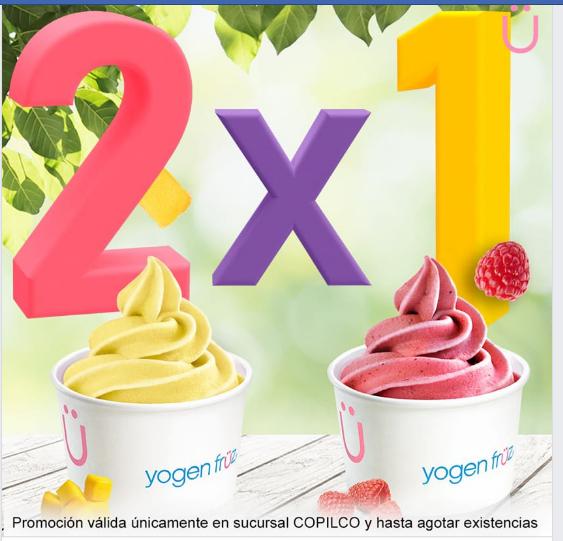 Yogen Fruz Copilco: 2x1 en todos los productos