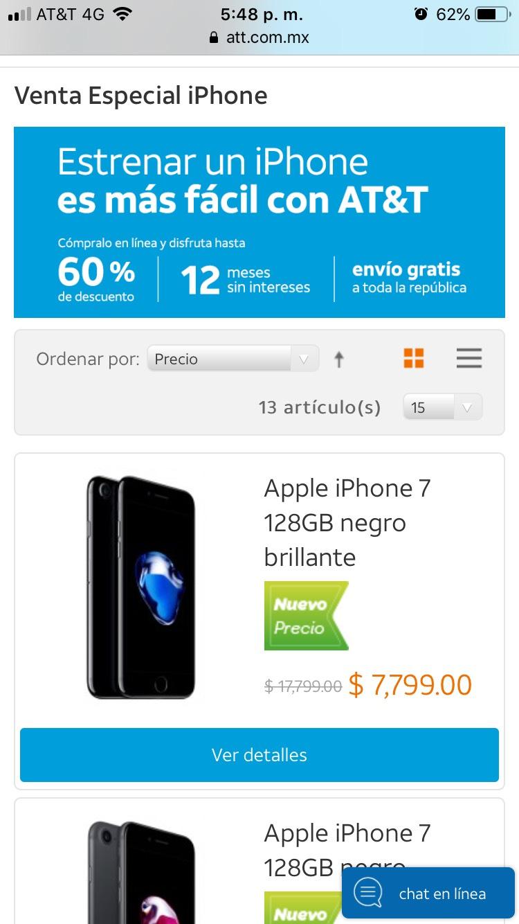 AT&T: Venta especial iPhone (ejemplo iPhone 7 a $7,799)