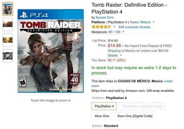 Amazon USA: videojuegos PS4 desde 15 dólares (Tomb Raider, PES 2015, The Order y TLOU)