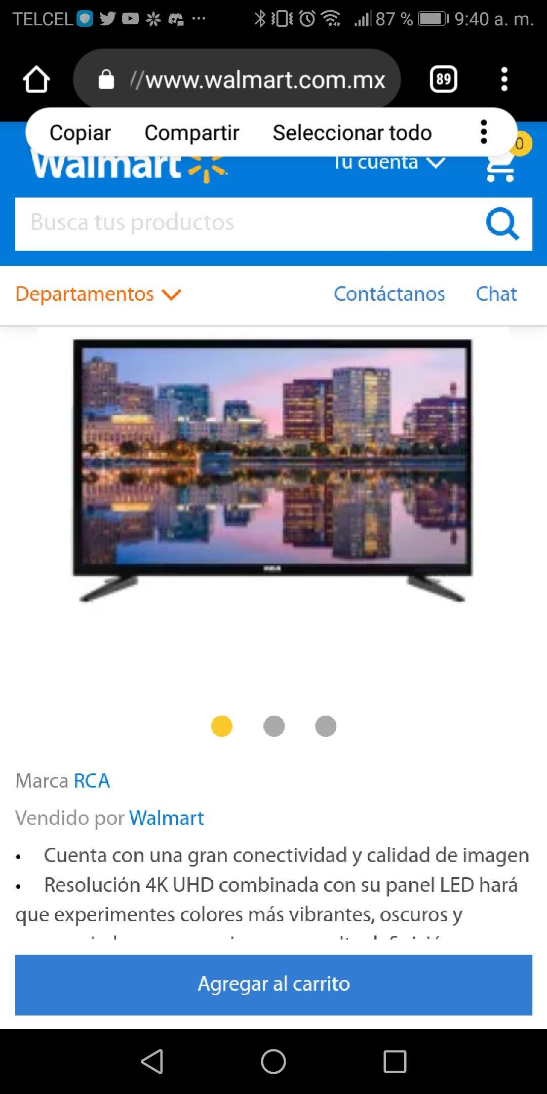Walmart: Pantalla RCA 55'' 4k UHD Reacondicionada vendida por Walmart (pagando con Bancomer o inbursa a 18 msi)