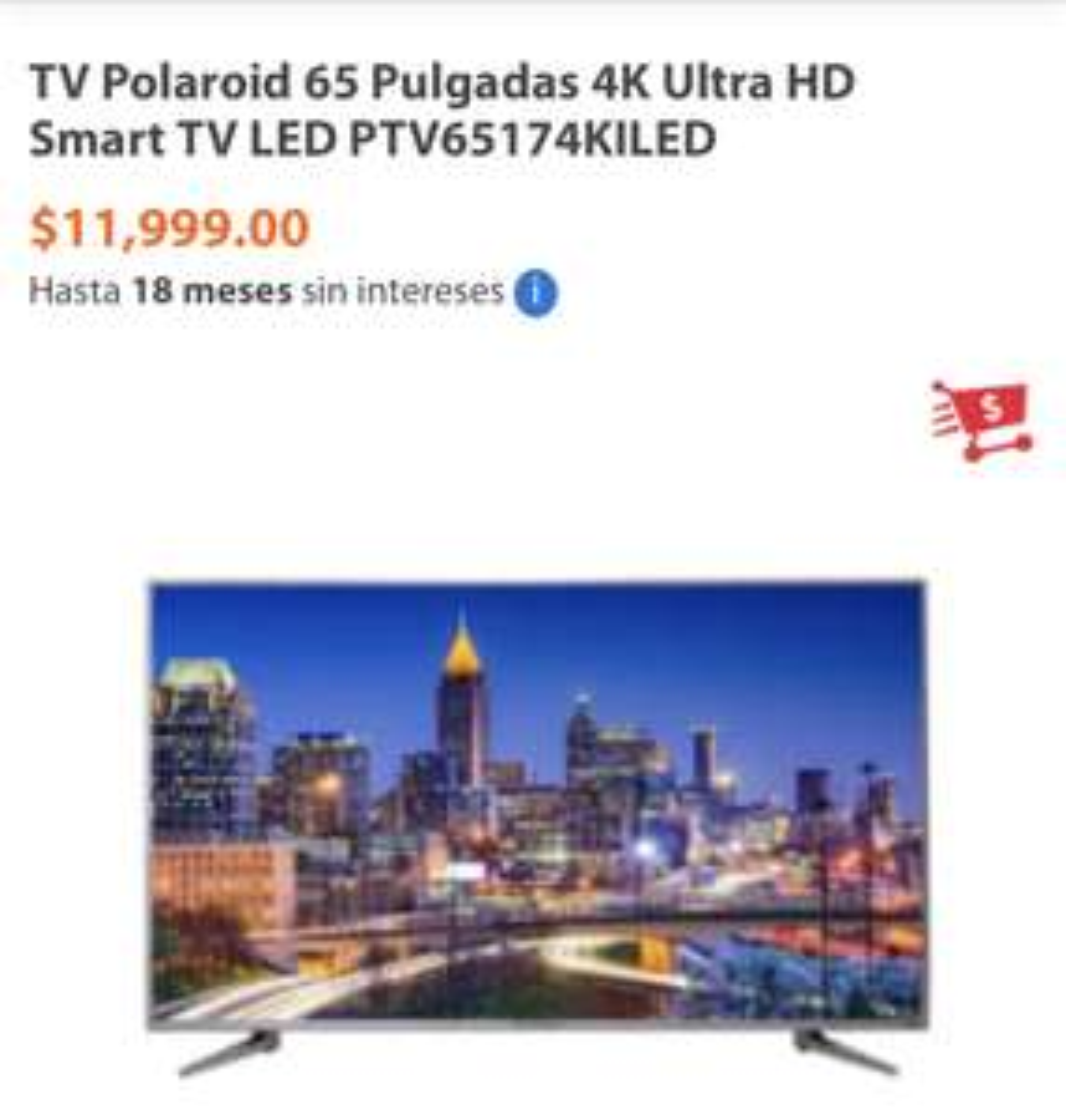 Walmart: Pantalla Polaroid 65'' 4K Ultra HD Smart TV LED PTV65174KILED