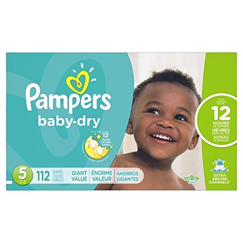 Amazon: Pampers Pañales Desechables Baby Dry, Talla 5, 112 Piezas con AMAZON PRIME