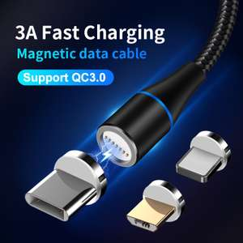 Aliexpress: Cable magnético 3A para iphone 6 7 8 XS X o Micro Usb-C Cable para Samsung o tipo C para teléfono Huawei