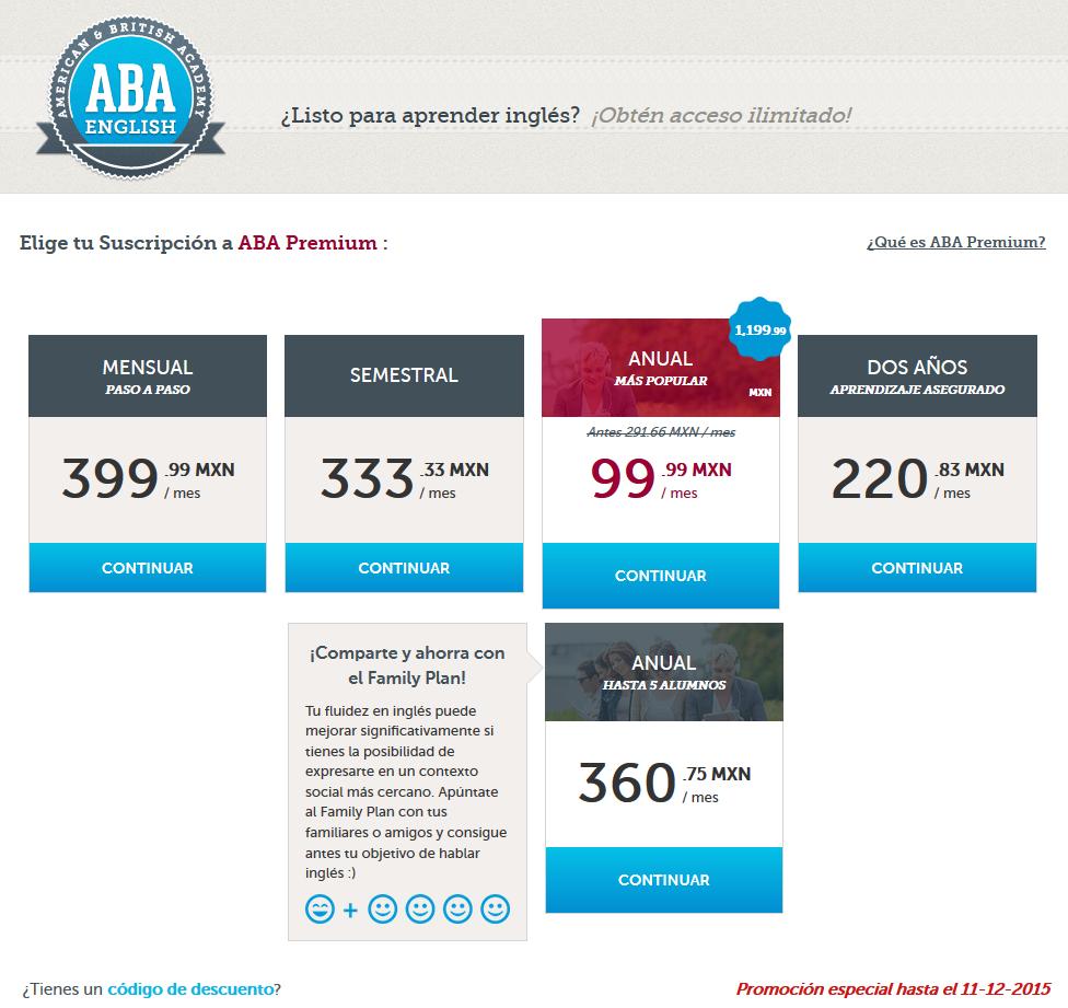 ABA English: Descuento en la suscripción PREMIUM 1 Año