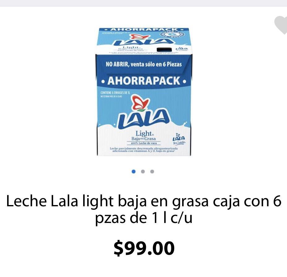 Walmart súper: 6 pack de Leche LALA Light de 1 Lt