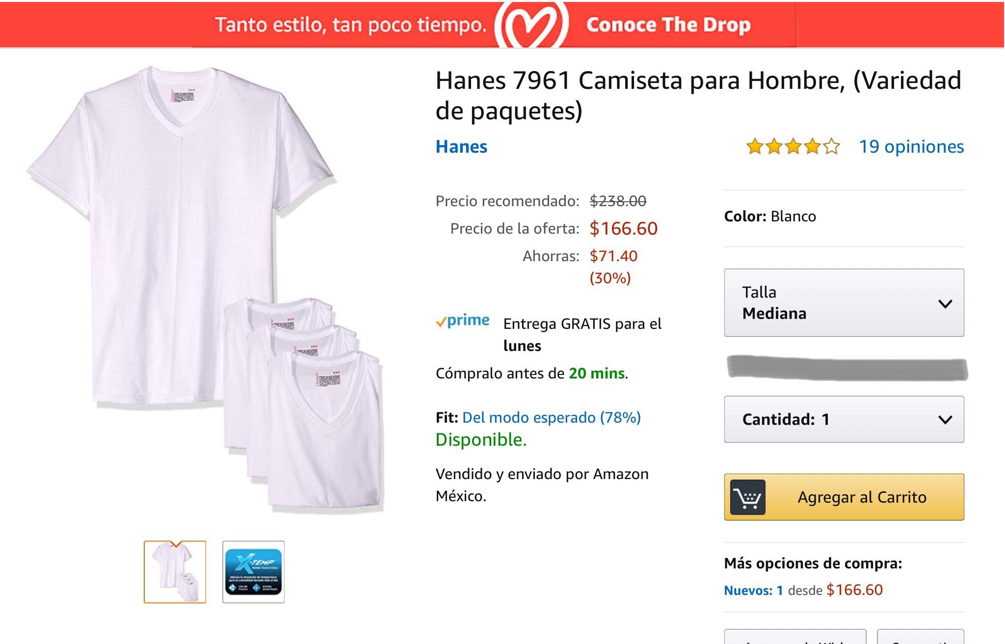 Amazon: Playeras de algodón.