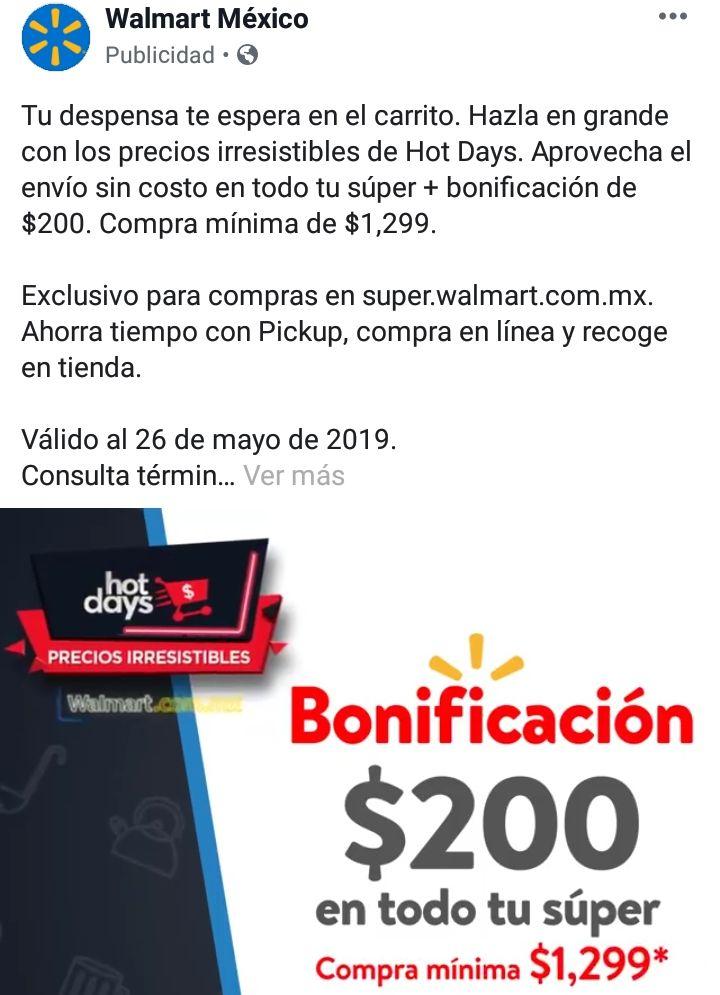Hot Days 2019 Walmart Súper: Bonificación de $200 Pesos en pedido de SÚPER