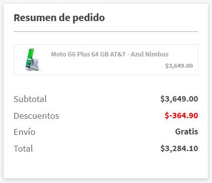 Elektra: Moto G6 Plus 64 GB AT&T Azul Nimbus (Pagando con CitiPay)