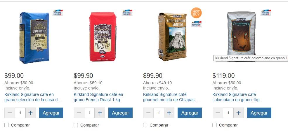 Costco online hotsale: Varios cafes 1 kg desde $99 envio gratis