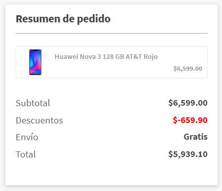 Elektra: Huawei Nova 3 128 GB AT&T Rojo (Pagando con CitiPay)
