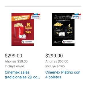 Costco. 10 entradas a Cinemex por 299