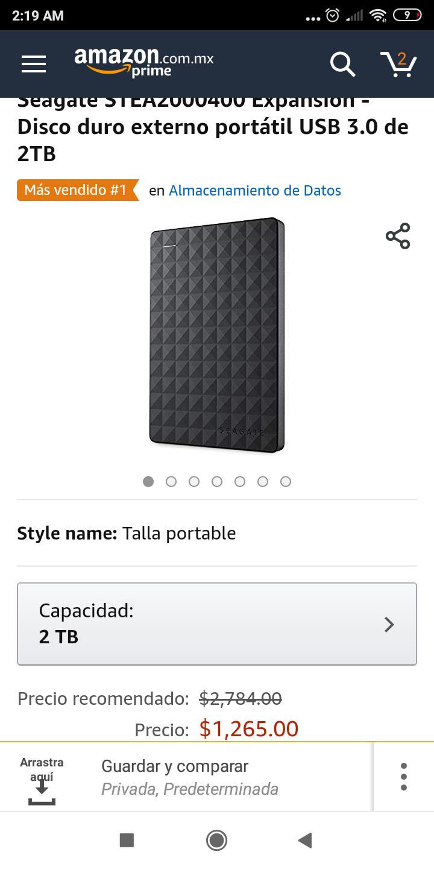 Amazon: Disco duro portatil Seagate de 2TB