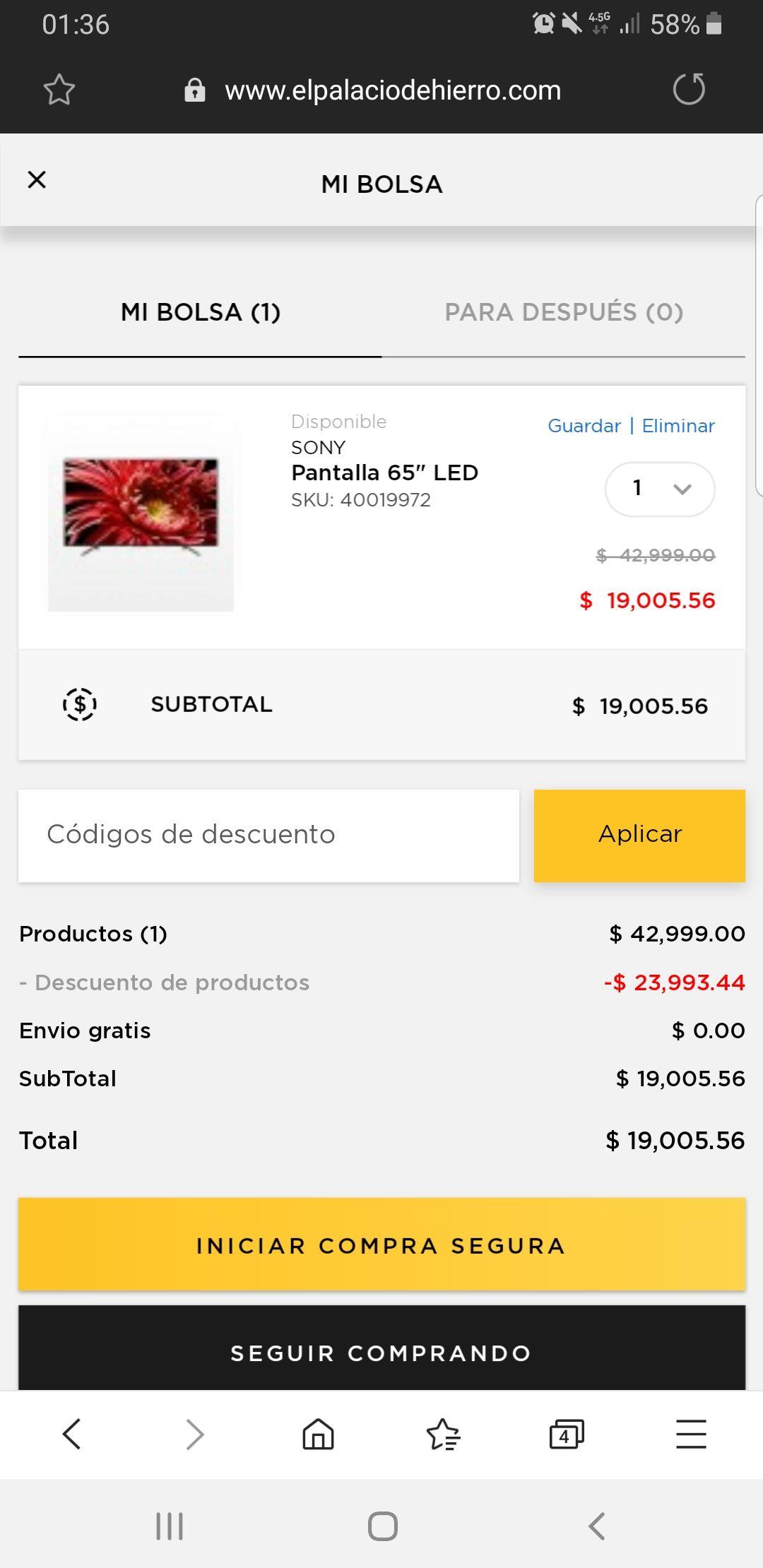 """Palacio de Hierro: Pantalla Sony 65"""" LED ANDROID X1 4K"""