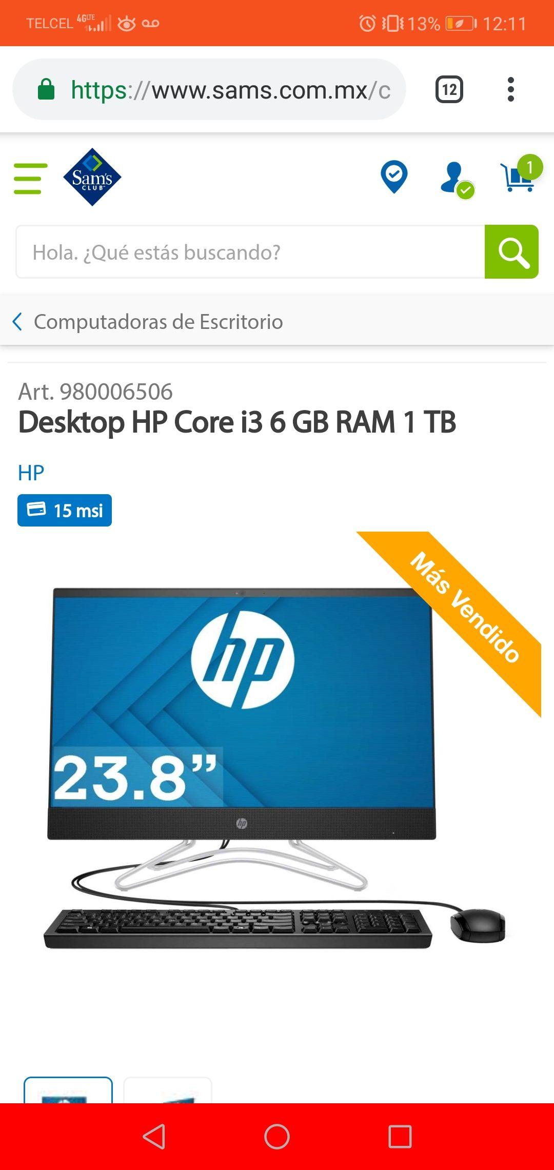 "Sam's Club: Hp 23,8"" Core i3 6 ram"