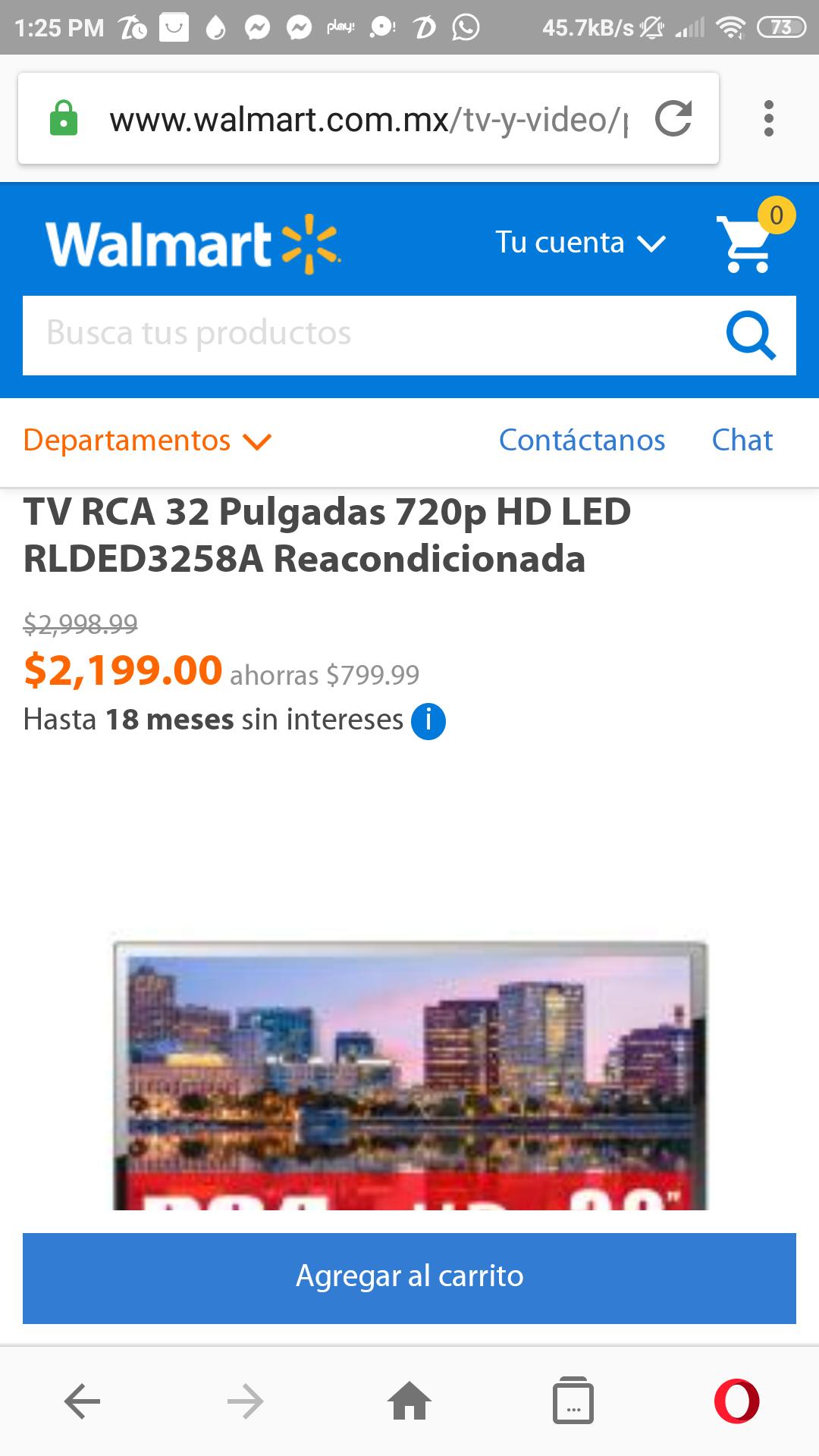"""Walmart: RCA 32"""" HD LED 720 Reacondicionada"""
