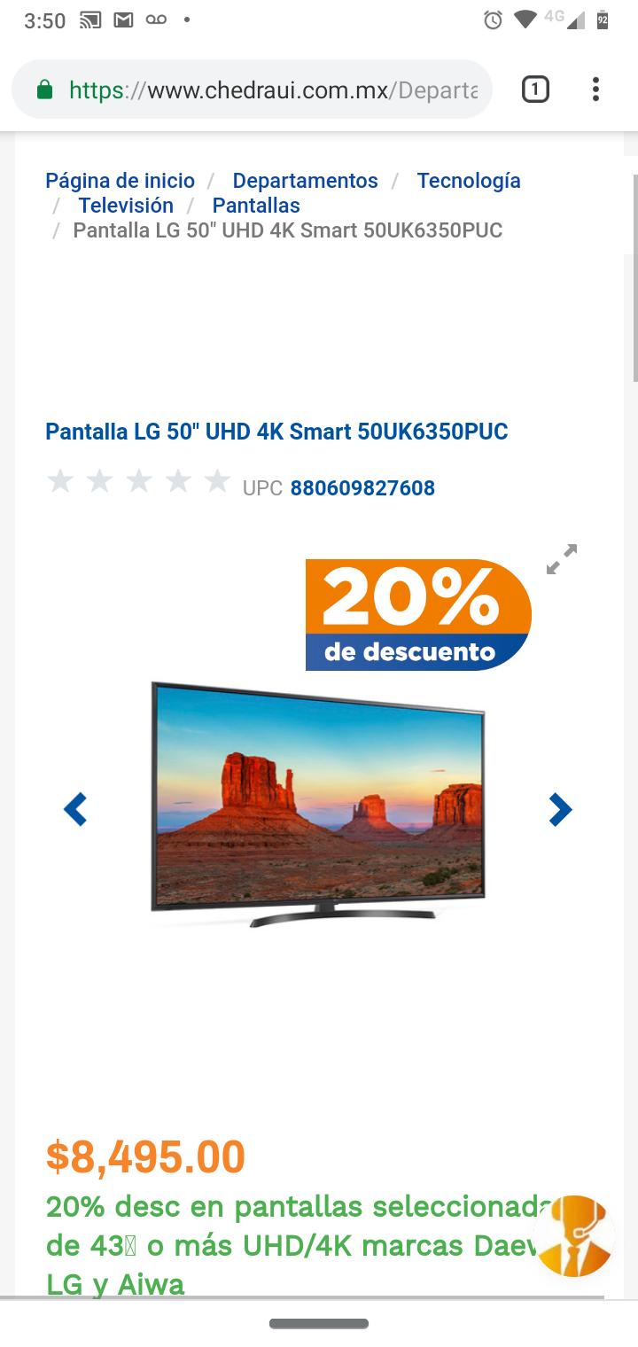 Chedraui: Smart Tv LG 50UK6350