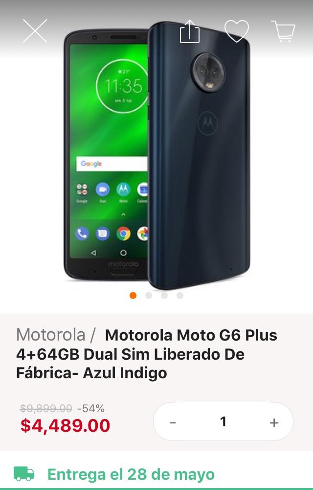 Linio: Moto G6 Plus 4+64GB Dual Sim Liberado de Fábrica