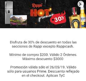 Rappi Hot Sale: 30% de descuento en todo para usuarios Prime
