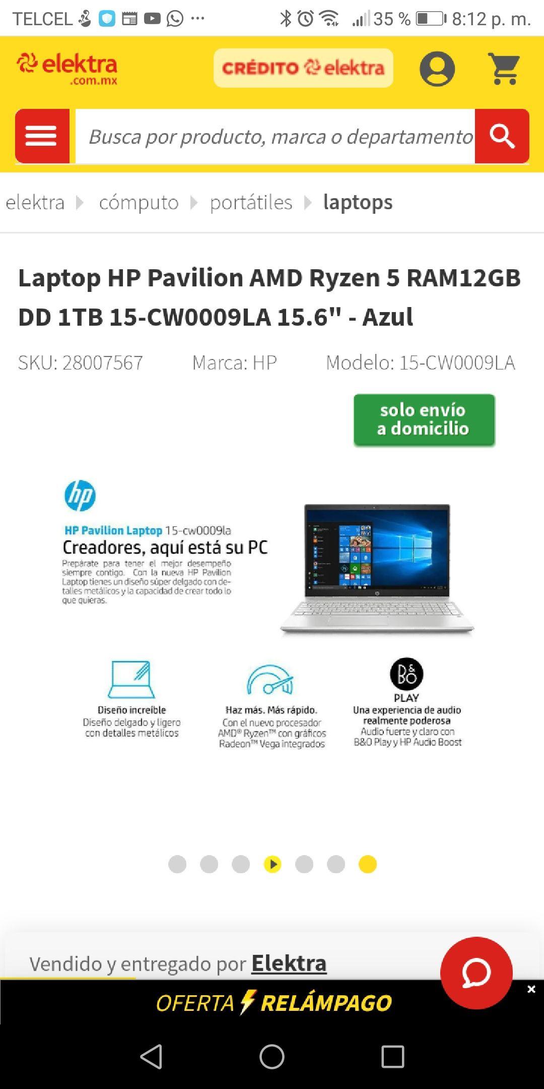 "Elektra: Laptop HP Pavilion AMD Ryzen 5 RAM12GB DD 1TB 15-CW0009LA 15.6"" - Azul (Pagando con Citipay)"