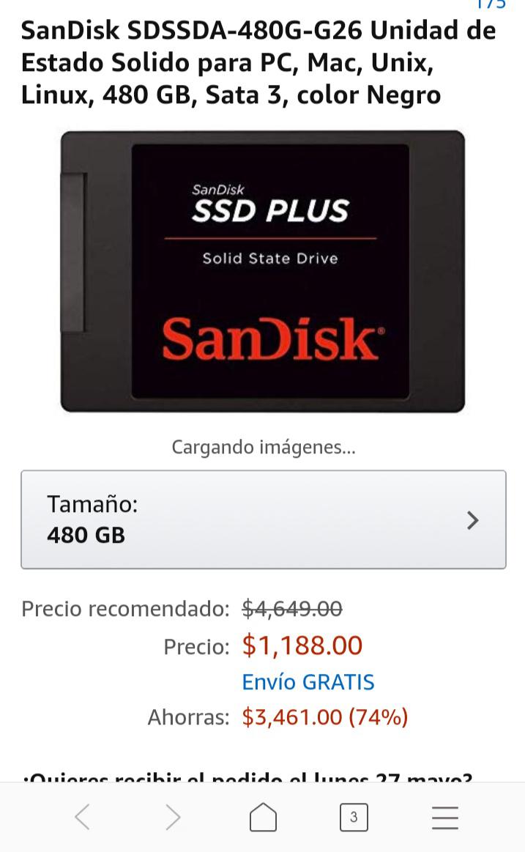 Amazon: SSD Sandisk 480Gb Sata 3