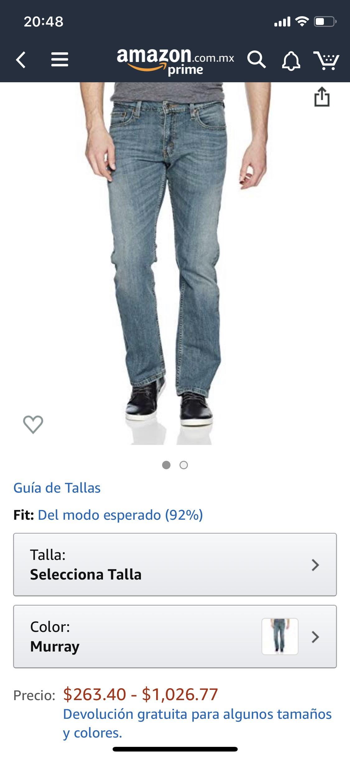 Amazon jeans levis talla 34w30L aplica Prime