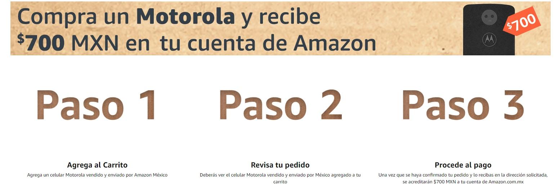 Amazon: Compra un Motorola y recibe $700 en tu cuenta Amazon