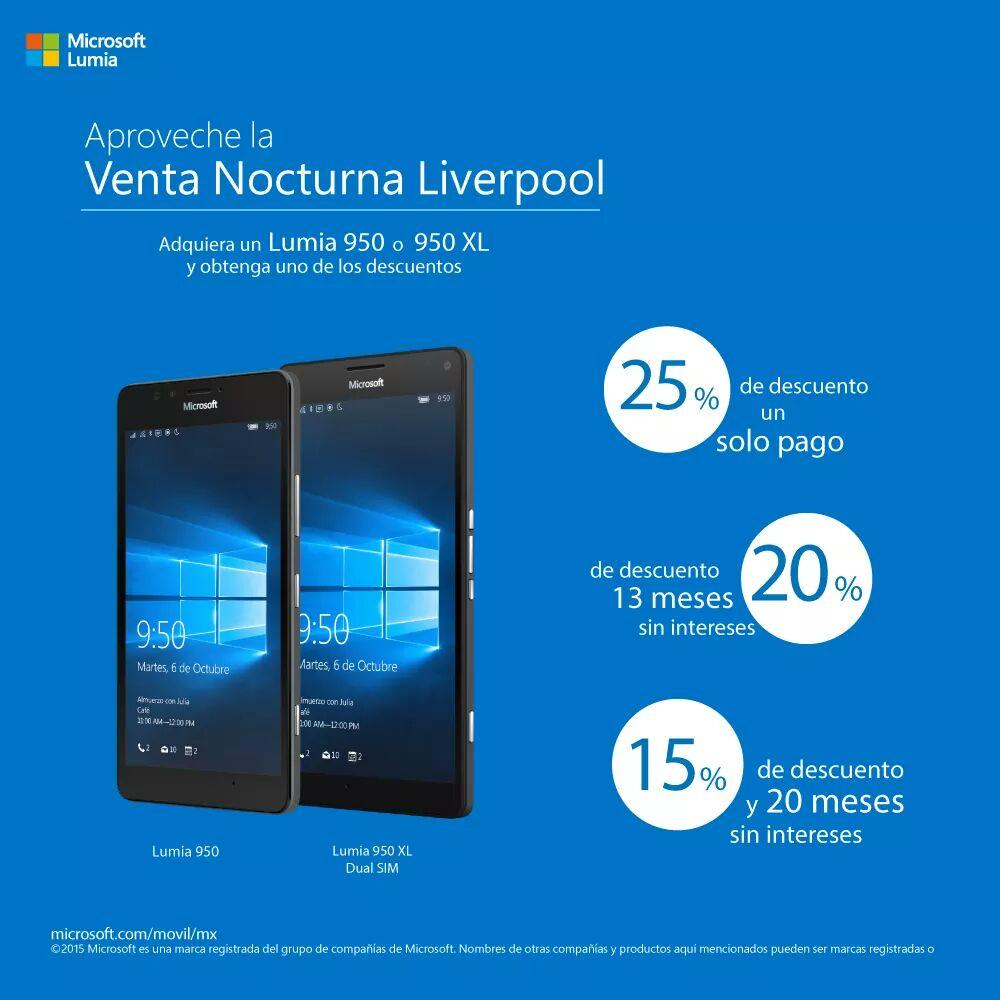 Liverpool: Lumia 950 & 950XL [Dual Sim] Venta Nocturna