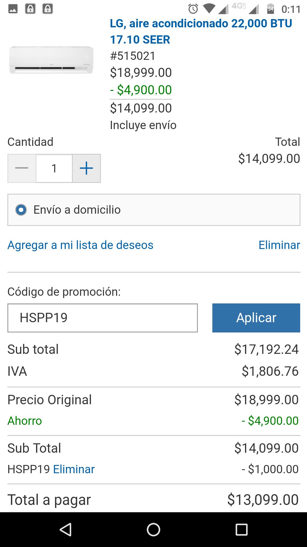 Costco: LG INVERTER 24 000 BTU (con cupón y Citibanamex)