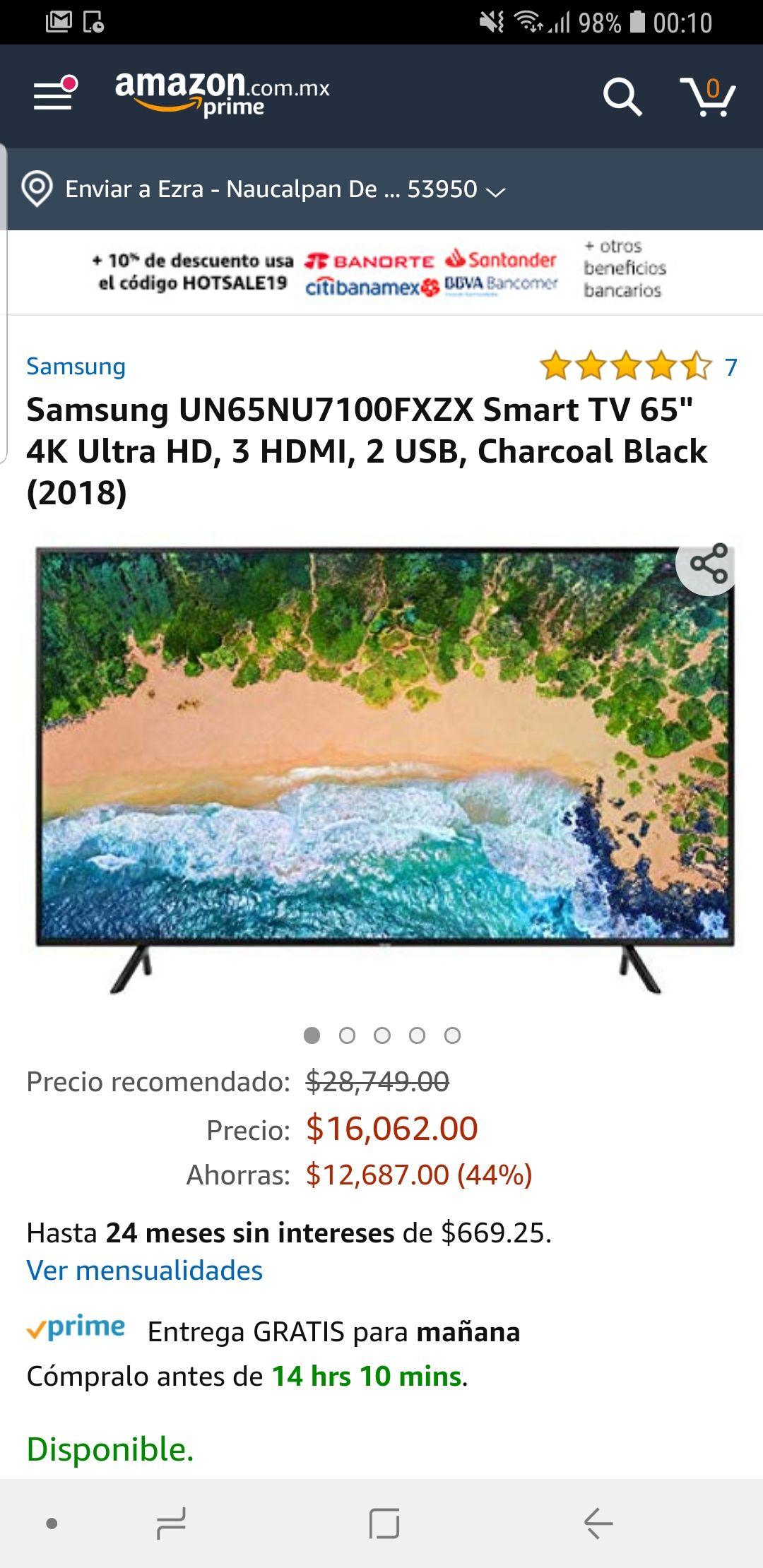 Amazon: Pantalla Samsung NU7100 65'