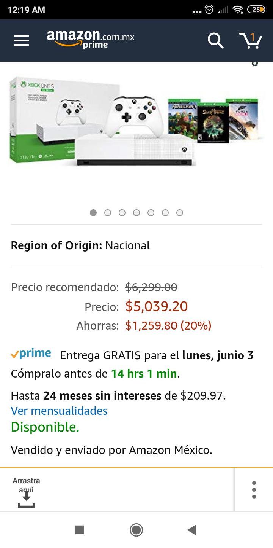 Amazon: Consola Xbox One S 1TB All Digital con 3 juegos digitales