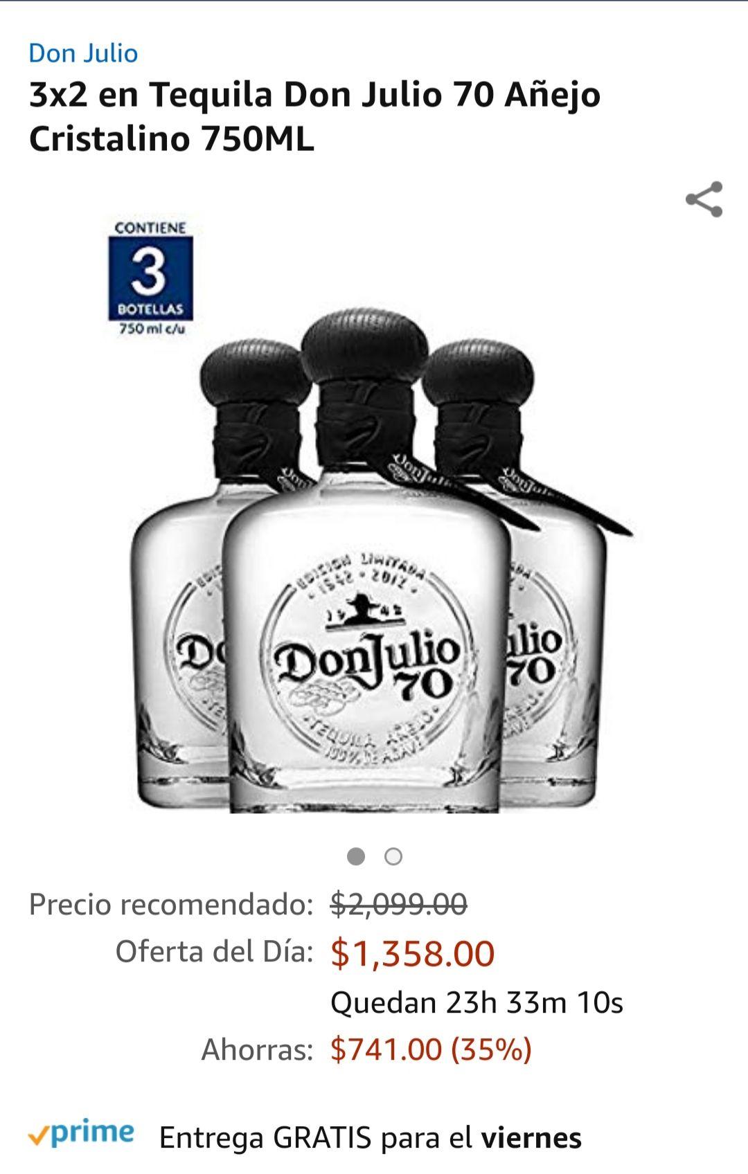 Amazon: Don Julio 70 de 750ml, a $452 c/u