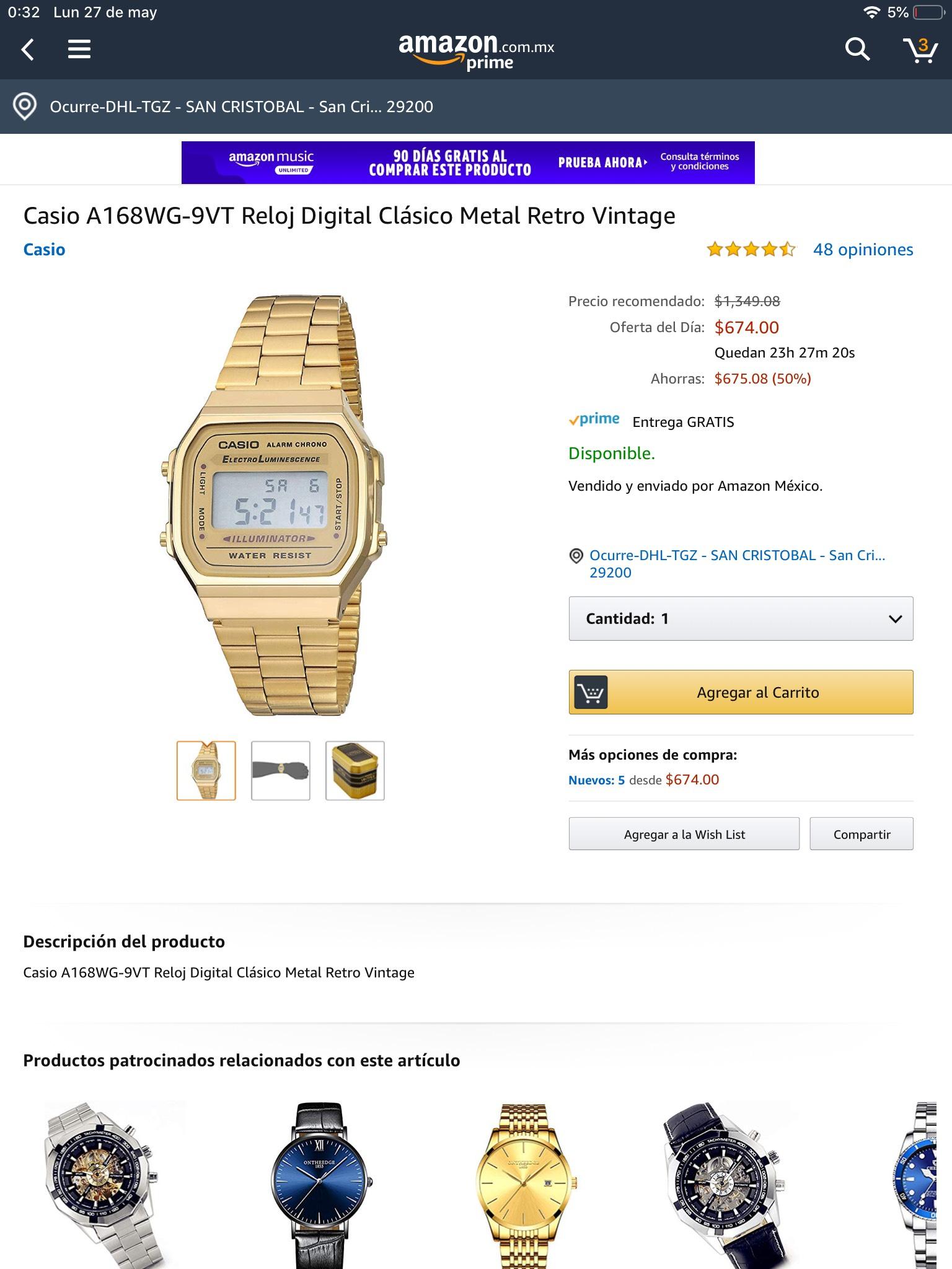 Amazon: Casio A168WG